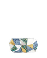 Rafe Vivienne Faceted Shell Minaudiere Clutch Bag Multi