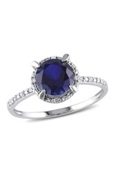 10K White Gold Diamond And Blue Sapphire Solitaire Ring