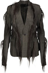 Rick Owens Goat Hair Trimmed Leather Jacket Charcoal