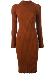 Vivetta Turtleneck Fitted Dress Brown