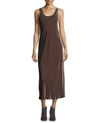 Vince Sleeveless Velvet Tank Maxi Dress Brown