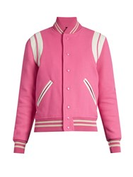 Saint Laurent Bi Colour Wool Blend Bomber Jacket Pink