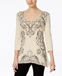 Miraclesuit Printed Three Quarter Sleeve Top Macadamia
