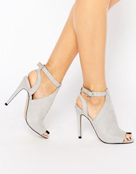 Faith Dandy Grey Cut Out Heeled Shoe Boots Grey