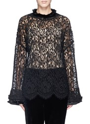 Toga Archives Floral Lace Bell Sleeve Top