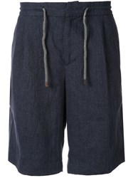 Brunello Cucinelli Linen Drawtring Shorts Blue