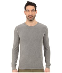 Lucky Brand Long Sleeve Waffle Crew Brushed Nickel Men's Sweater Silver
