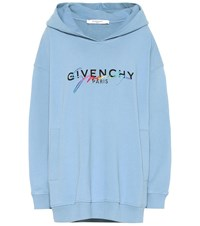 Givenchy Logo Cotton Hoodie Blue