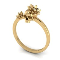 Antoanetta 14K Yellow Gold Skull Ring With Flowers5.5
