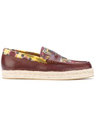 Etro Espadrille Loafers Men Cotton Leather Rubber 41 Brown