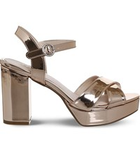 Office Misty Platform Heels Rose Gold Mirror