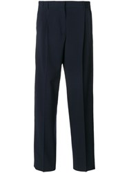 Paul Smith Ps By High Waisted Tailored Trousers Viscose Wool Blue