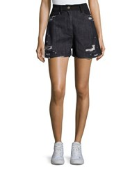 Public School Thana Two Tone Destroyed Denim Shorts Black