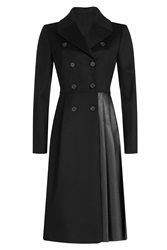 Vionnet Wool And Leather Coat Black