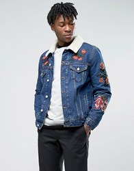 Asos Denim Jacket With Embroidery And Borg Collar In Blue Wash Blue