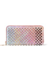 Christian Louboutin Panettone Spiked Metallic Suede Continental Wallet Pink
