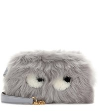 Anya Hindmarch Eyes Mini Fur Crossbody Bag Grey