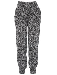 Izabel London Elasticised Paisley Trousers Black White
