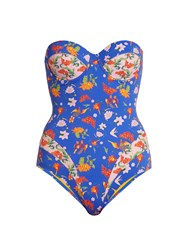 Paolita Mughal Strapless Swimsuit Blue Multi