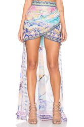 Camilla Gathered Front Long Back Skirt Blue
