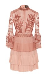 J. Mendel Embroidered Organza Mock Neck Dress Pink