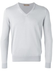 Cruciani V Neck Jumper Grey