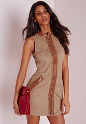 Missguided Faux Suede Zip Front Bodycon Dress Tan Brown