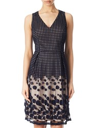 Adrianna Papell Pleated Plaid Dot Fit And Flare Dress Navy Pink