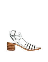 Faith White Mid Heeled Strap Sandals
