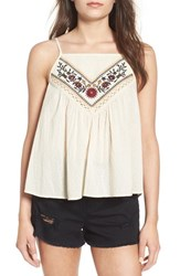 Band Of Gypsies Women's Embroidered Woven Tank Ivory Burgundy