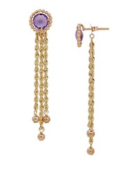 Lord And Taylor Amethyst 14K Yellow Gold Drop Earrings