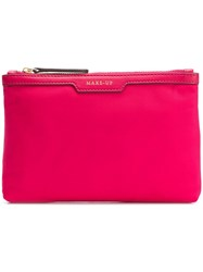 Anya Hindmarch Loose Pocket Make Up In Hot Pink Nylon With Berry Pink And Purple