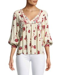 Ba And Sh Brige V Neck 3 4 Sleeve Floral Print Top Ecru