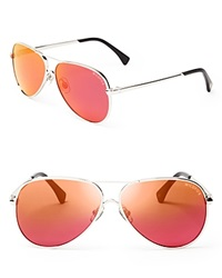 Wildfox Couture Wildfox Airfox Ii Deluxe Mirrored Aviator Sunglasses Silver Pink Mirror