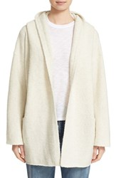 Vince Women's Hooded Open Front Wool Blend Cardigan Winter White