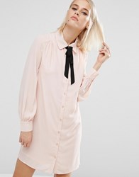 Fashion Union Shirt Dress With Tie Up Neck Pink