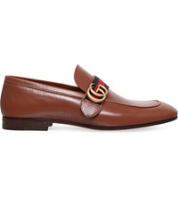 Gucci Revolt Logo Detail Leather Loafers Tan