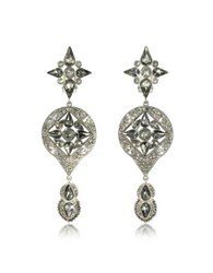 Roberto Cavalli Two Tone Crystals Drop Earrings Silver