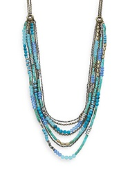 Saks Fifth Avenue Beaded Multi Strand Chain Necklace Blue Multi