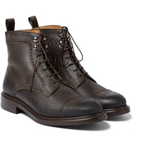 O'keeffe Felix Distressed Brogue Detailed Leather Boots