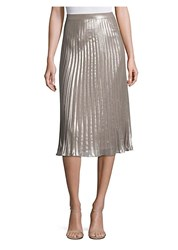 Saks Fifth Avenue Collection Metallic Pleated Skirt Smoke Combo