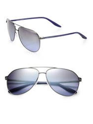 Barton Perreira Hawkeye Square Metal And Acetate Aviator Sunglasses Pewter Gold