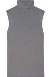 Equipment Bette Ribbed Silk Blend Turtleneck Top Dark Gray