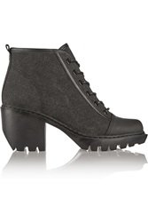 Opening Ceremony Leather Trimmed Coated Canvas Boots Black