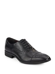 Saks Fifth Avenue Perforated Leather Oxfords Brown