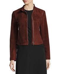 Theory Bavewick Sm Wilmore Studded Suede Jacket Chili