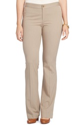 Lauren Ralph Lauren Stretch Twill Flare Leg Pants Plus Size Light Taupe Heather