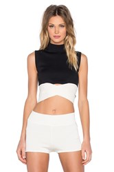 Egrey High Collar Band Crop Top Black And White