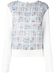 Olympia Le Tan Library Print Sweatshirt Blue