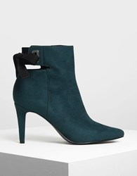Charles And Keith Lace Up Bow Ankle Boots Teal